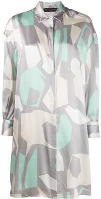 Fabiana Filippi Abstract Print Satin Shirt Dress