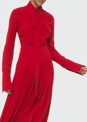Michael Kors Collection Pleated Shirt Dress With Neck Tie