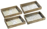 """A&B Home Set of 4 Trays - Antiqued Wood and Glass - 3x12x8"""""""