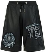 Philipp Plein Embellished Leather Shorts