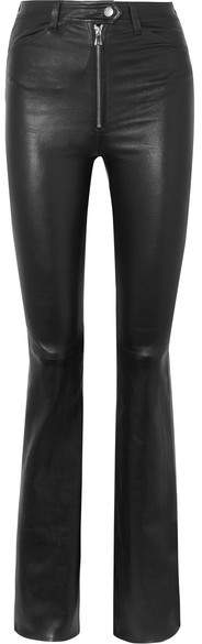 Sprwmn Leather Flared Pants - Black
