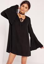 Missguided Tie Front Keyhole Flute Sleeve Dress Black