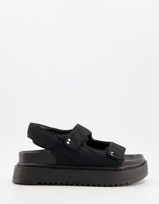 Bershka quilted sporty sandal in black