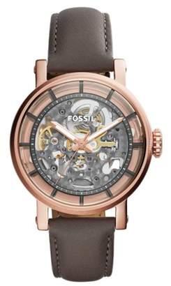 Fossil Original Boyfriend Automatic Gray Leather Watch Jewelry