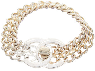 Chanel Silver-Tone Medium Cc Turnlock Bracelet