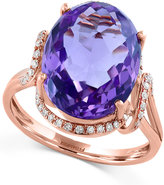 Effy Viola by Amethyst (6-5/8 ct. t.w.) and Diamond (1/5 ct. t.w.) Split Shank Ring in 14k Rose Gold