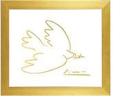 Buyartforless Framed, Pablo Picasso Dove of Peace Imitation in Gold by Kelissa Sempl