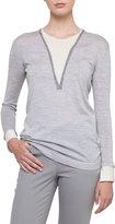 Akris Long-Sleeve Wool-Silk Pullover Knit Sweater