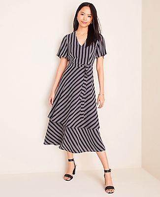Ann Taylor Tall Stripe Tiered Midi Dress