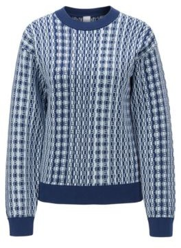 BOSS Monogram-jacquard sweater in cotton with silk