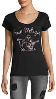 True Religion Women's Floral Filled Buddha Tee