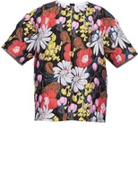 Marni Short Sleeve Floral Crew Neck Top
