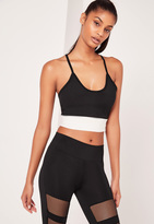 Missguided Active Sports Bra Contrast Fishnet Panel Black