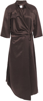 Nanushka Lais Washed Satin-crepe Midi Wrap Dress