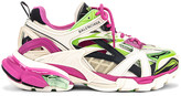 Balenciaga Track 2 Open Sneakers in White & Green & Pink | FWRD