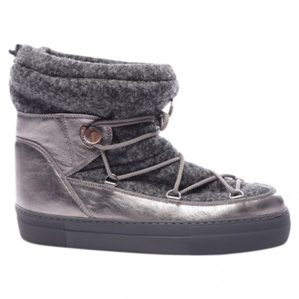 Moncler Grey Leather Boots