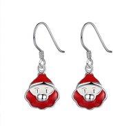 4EAELove U-Beauty Red White Enamel Christmas Gift Box Silver Plated Kids Girls Dangle Earrings