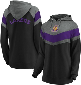 Women's Fanatics Branded Gray/Black Los Angeles Lakers True Classics Go All Out Chevron Pullover Hoodie
