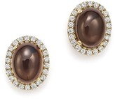 Bloomingdale's Smoky Topaz Oval and Diamond Stud Earrings in 14K Yellow Gold