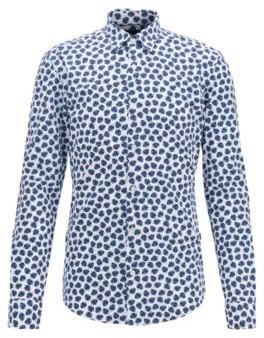HUGO BOSS Printed Slim Fit Shirt In Performance Stretch Fabric - Dark Blue