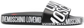 Love Moschino Logo Print Slides