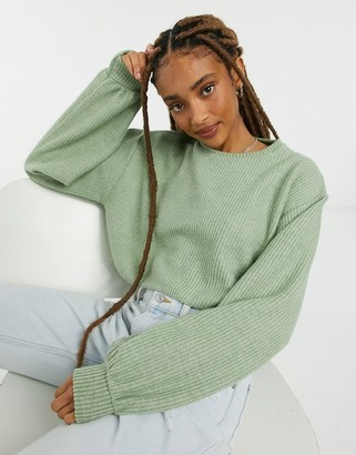 Bershka soft touch ribbed cropped sweat jumper in sage green