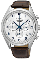 Seiko Ssb229p1 Chronograph Date Leather Strap Watch, Brown/silver