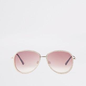 River Island Womens Rose Gold aviator diamante trim sunglasses