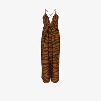 Mara Hoffman Lolita animal stripe midi dress