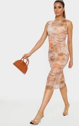 PrettyLittleThing Tall Nude Oriental Mesh Midi Dress