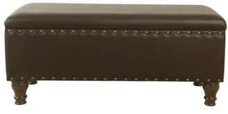 HomePop Large Storage Bench with Nailhead Trim -Brown Faux Leather
