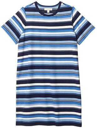 MICHAEL Michael Kors Size Court Stripe Tee Dress (Chambray) Women's Dress