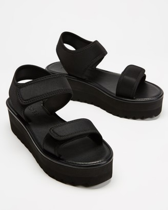 TWOOBS - Women's Black Flat Sandals - Platform Sandals - Size 41 at The Iconic