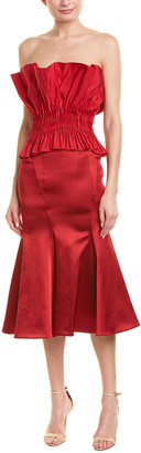 Jonathan Simkhai Structured Silk-Blend Cocktail Dress