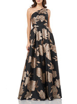Carmen Marc Valvo One-Shoulder Floral Jacquard Gown with Pleat Detail