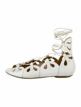 Aquazzura Leather Cutout Accent Gladiator Sandals White