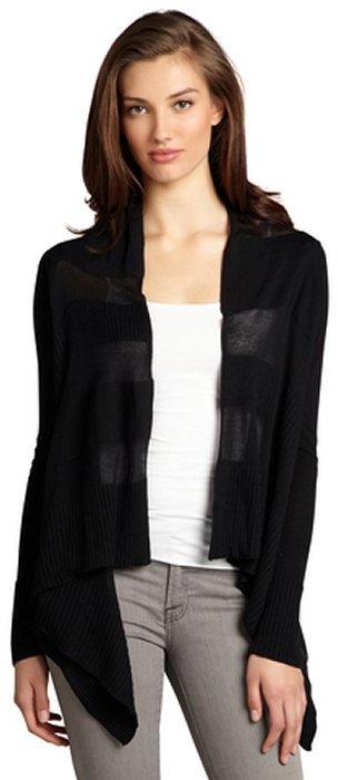 BCBGMAXAZRIA black sheer paneled 'Atia' open front waterfall cardigan