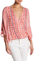 Love Stitch Wrap Front Tie Back Blouse