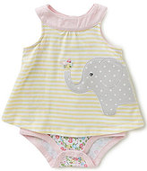 Starting Out Baby Girls Newborn-9 Months Striped Floral Elephant Bodysuit