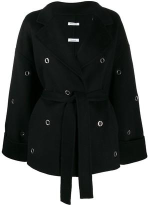 P.A.R.O.S.H. belted eyelet-embellished coat