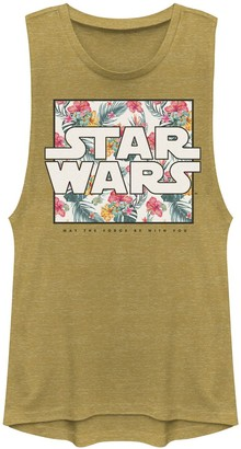 """Star Wars Juniors' May The Force Be With You"""" Floral Box Logo Muscle Tee"""