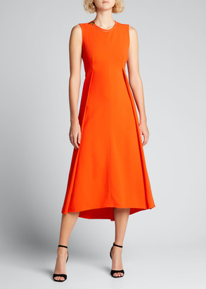 Victoria Beckham Front Pleated Midi Dress