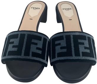 Fendi Black Velvet Sandals