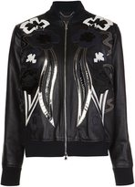 Diesel Black Gold leather bomber jacket - women - Calf Leather/Rayon - 40