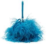 Marques Almeida Marques'almeida - Feather-embellished Leather Cross-body Bag - Womens - Blue