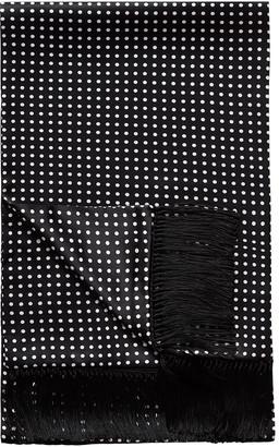 Eton Men's Polka Dot Fringe Silk Scarf