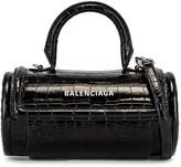 Balenciaga Small Embossed Croc Round Top Handle Bag in Black | FWRD