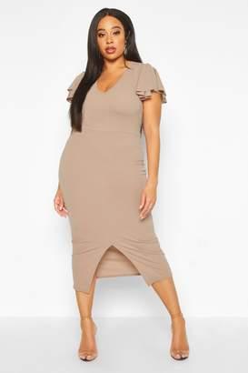 boohoo Plus Plunge Ruffle Split Front Midi Dress