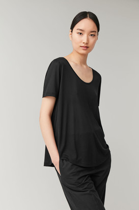Cos Jersey Top With Curved Hem