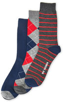 Ben Sherman 3-Pack Rowan Argyle & Striped Crew Socks